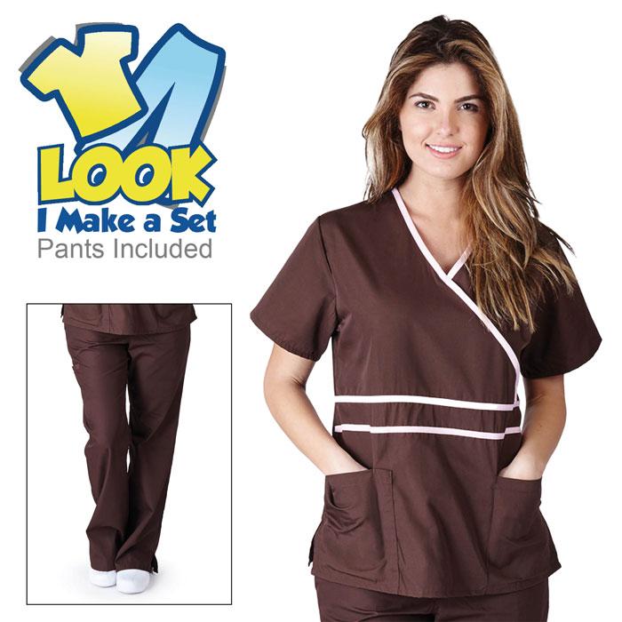 Natural-Uniforms-1091-Contrast-Mock-Wrap-Scrub-Set