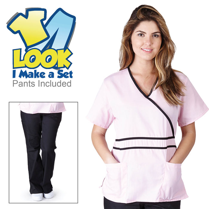 Natural-Uniforms-1091-Contrast-Mock-Wrap-Scrub-Set