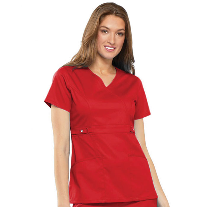 Luxe-by-Cherokee-21701-Empire-Waist-Mock-Wrap-Scrub-Top
