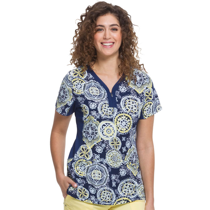 2270-GLI-Y-Neck-Knit-Side-Panel-Scrub-Top-GLITTERING-LIGHTS