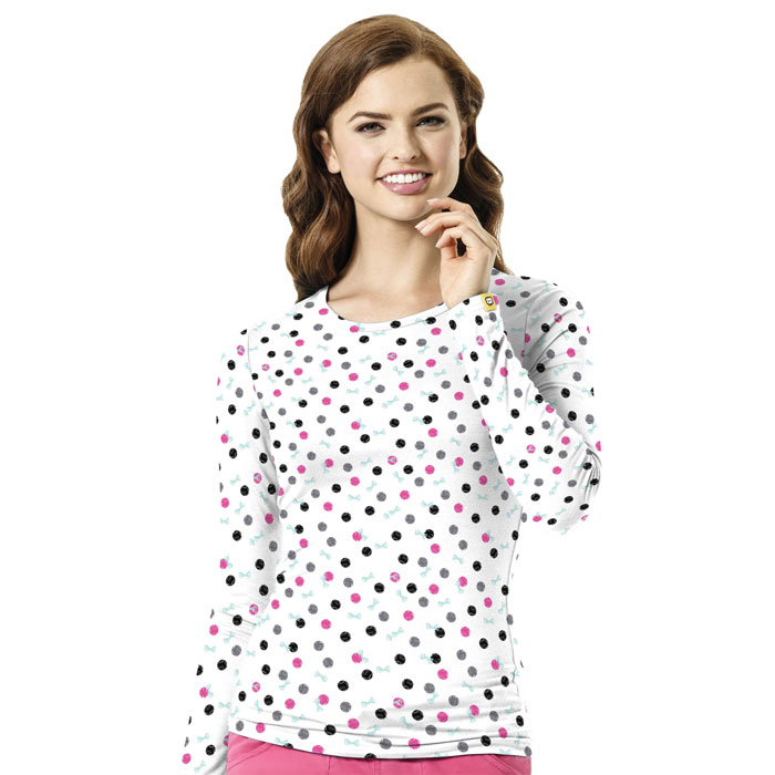 WonderWink-Layers-2409-DIS-Ladies-Silky-All-Over-Print-Tee-Dots-In-Style