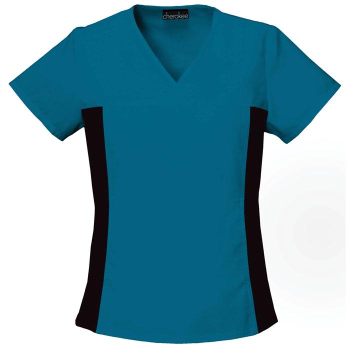 Flexibles-2874-V-Neck-Knit-Panel-Scrub-Top