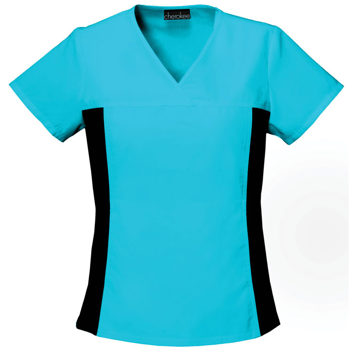 Flexibles-2874-V-Neck-Knit-Panel-Scrub-Top