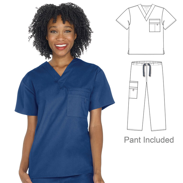 Scrubfinity-3100-3420-Soft-Brush-Unisex-Scrub-Set-V-Neck-Top-and-Pant-with-Triple-Chest-Pocket