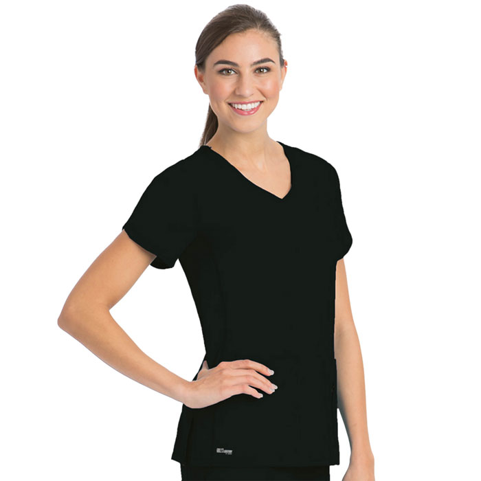 Greys Anatomy, 41423, Womens 4 Pkt Crossover V-neck Top