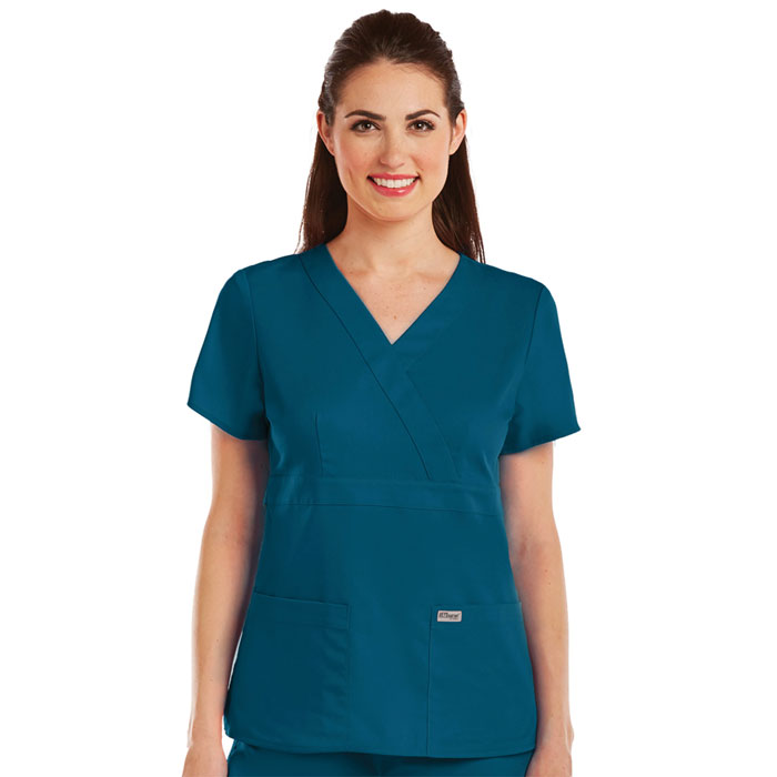 Greys-Anatomy-4153-Womens-3-Pkt-Mock-Wrap-Top