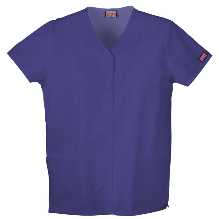 Cherokee-Workwear-4770-Snap-Front-V-Neck-Scrub-Top