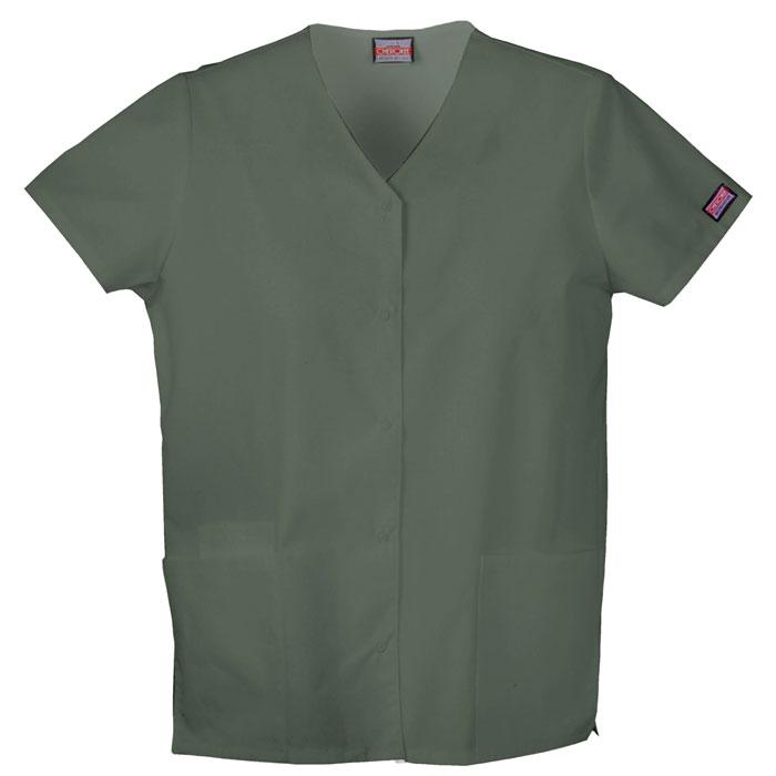 Cherokee-Workwear--Snap-Front-V-Neck-Scrub-Top
