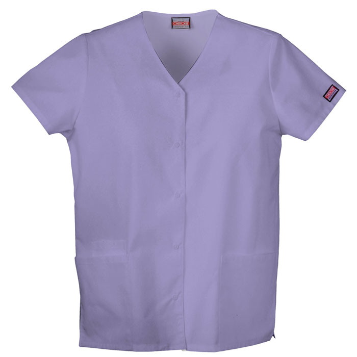 Cherokee-Workwear-4770-Snap-Front-V-Neck-Scrub-Top