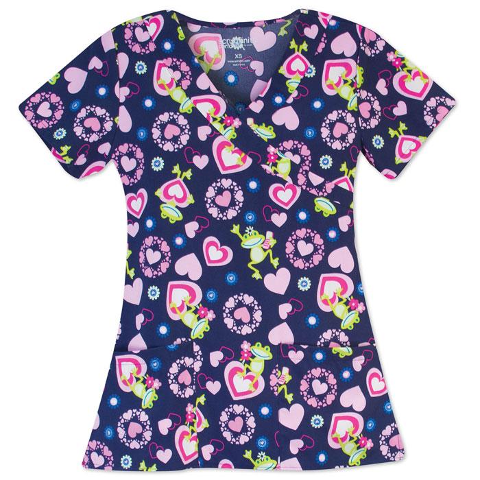 502W-1243NV-Ladies-2-Pocket-V-Neck-Top-FROG-LOVE-