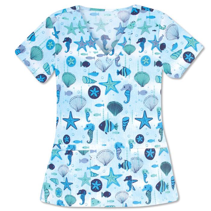 500V-1271-Ladies-2-Pocket-V-Neck-Top-BLUE-CRUSH