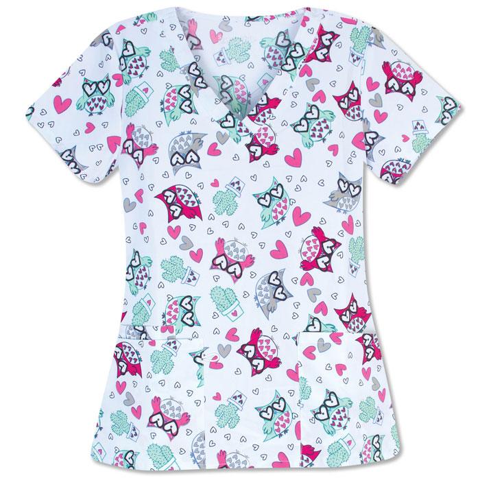 500V-1276BL-Ladies-2-Pocket-V-Neck-Top-LOOKING-LOVELY