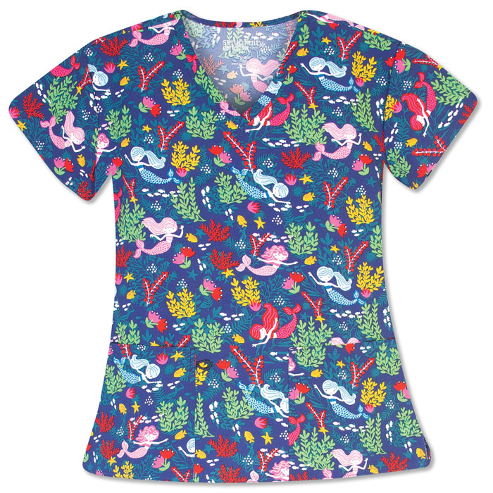 5284-1586C-Ladies-2-Pocket-V-Neck-Top-Under-The-Sea