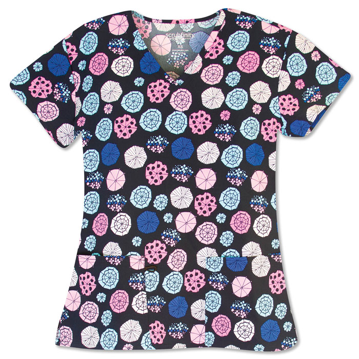 5284-1604S-Ladies-3-Pocket-V-Neck-Top-PRETTY-PARASOL