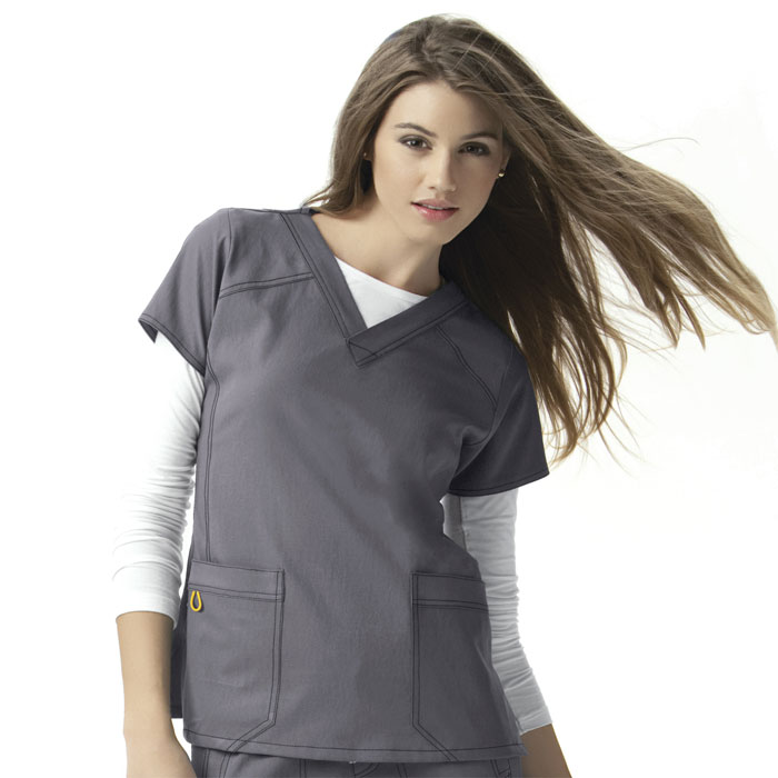 Four-Stretch-6214-Sporty-V-Neck-Scrub-Top
