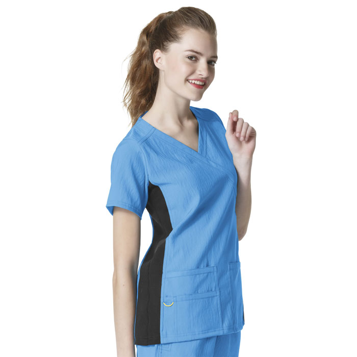 Four-Stretch-6514-Mock-Wrap-Knit-Panel-Scrub-Top