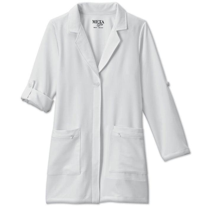 Meta-Pro-858-Ladies-Roll-Up-Sleeve-Tri-Blend-Stretch-Labcoat