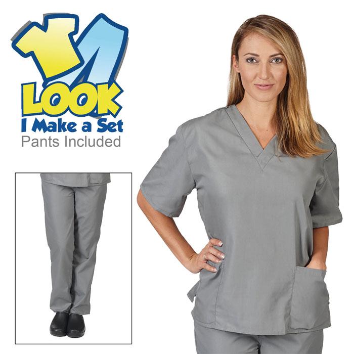 Natural-Uniforms-BP101-Unisex-Solid-V-Neck-Scrub-Set