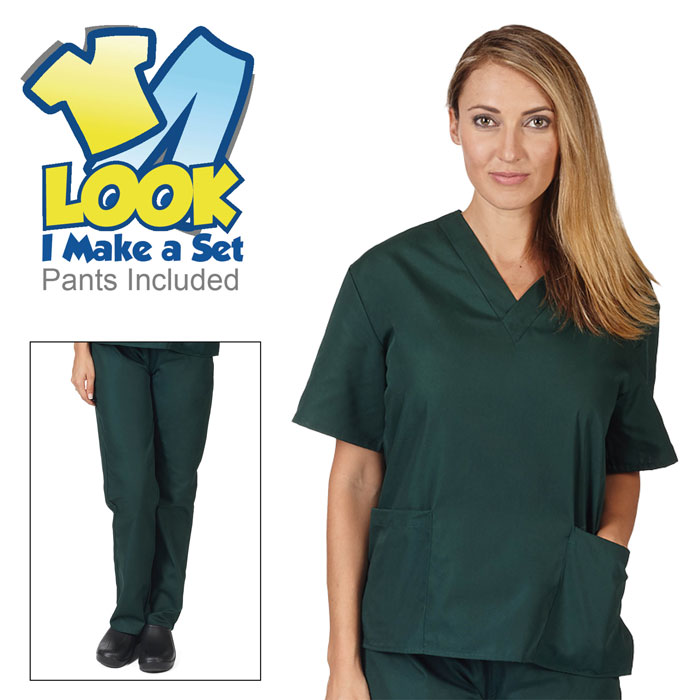 Natural-Uniforms-BP101-Unisex-Solid-V-Neck-Scrub-Set