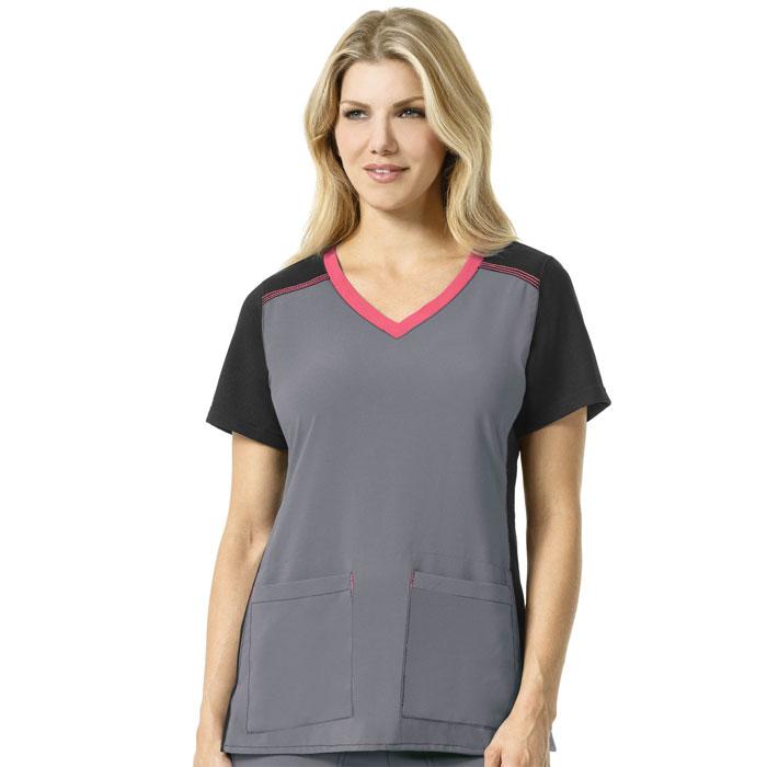 Carhartt-Cross-Flex-C12410-Women's-Multi-Color-Knit-Mix-V-Neck-Top