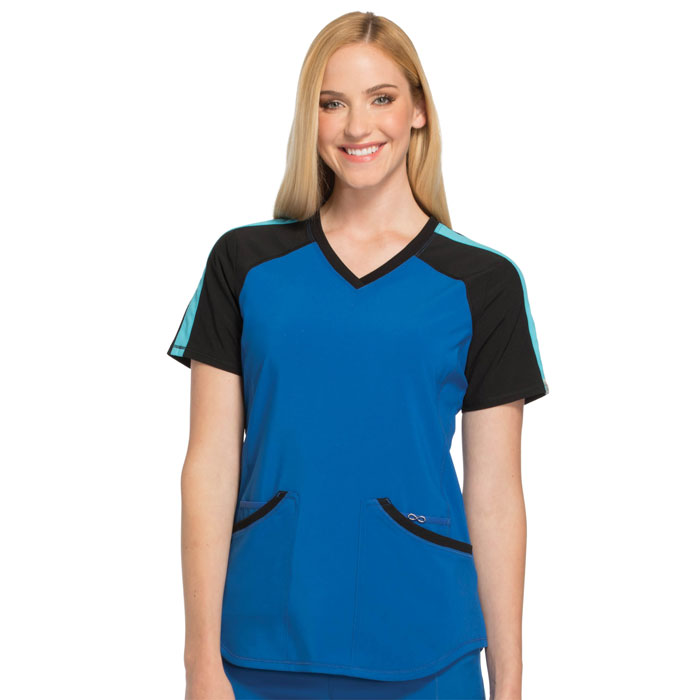 Infinity-by-Cherokee-CK690A-Colorblock-V-Neck-Top