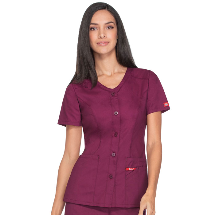 Dickies-EDS-Signature-DK605-Button-Front-V-Neck-Top
