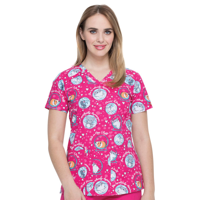 Dickies-Ladies-Vneck-Top-They-See-Me-Rollin-DK617-THMR