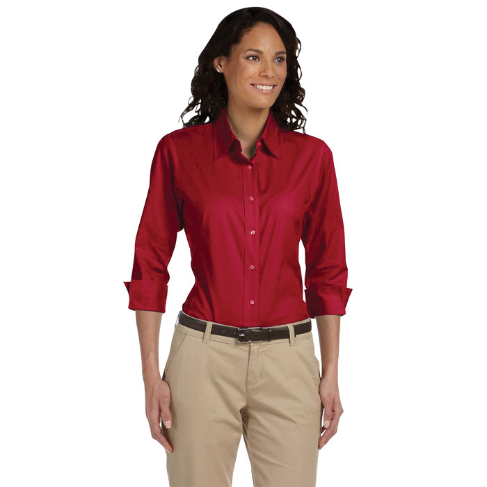 DP625W-Ladies'-Three-Quarter-Sleeve-Stretch-Poplin-Blouse