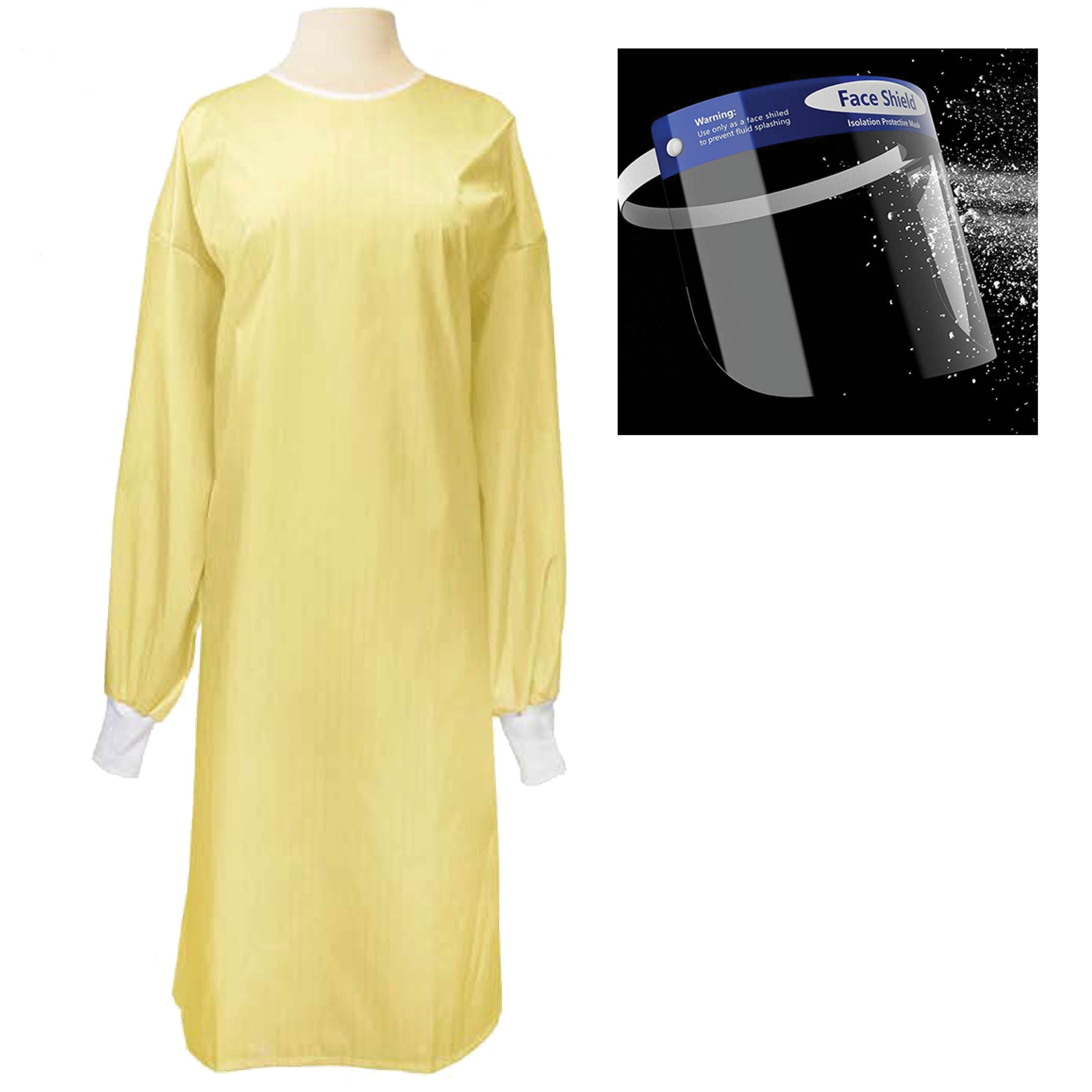 Student-PPE-Kit-Precaution-Gown-300048-YLW-Face-Shield