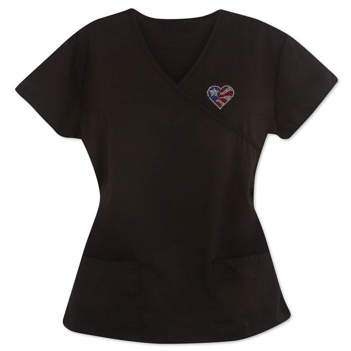 161H-Ladies-Mock-Wrap-Scrub-Top-with-Patriotic-Bling-Heart