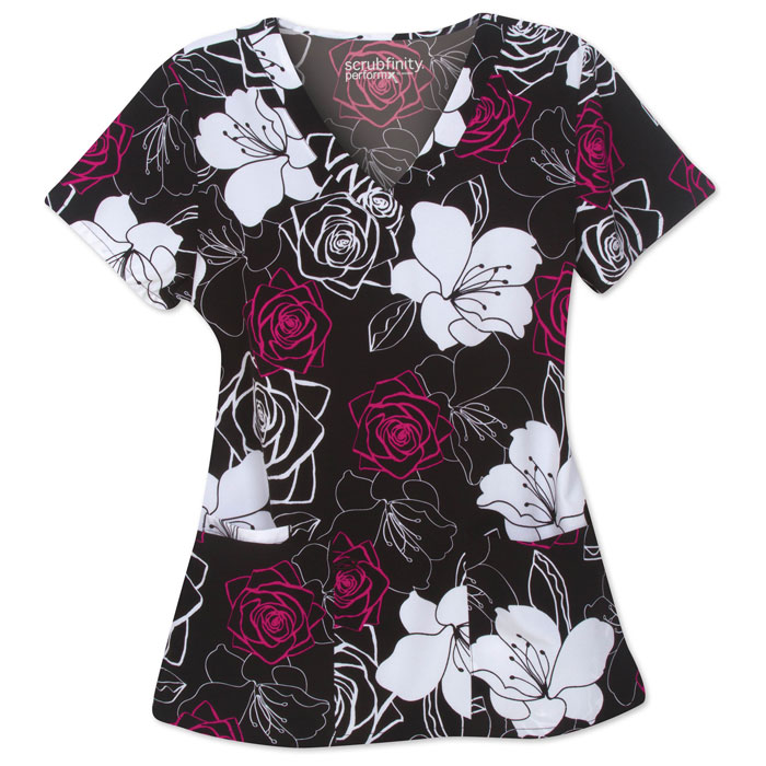 500V-1190BK-Ladies-Mock-Wrap-Top-2-Pocket-V-Neck-Top-Bold-Blooms