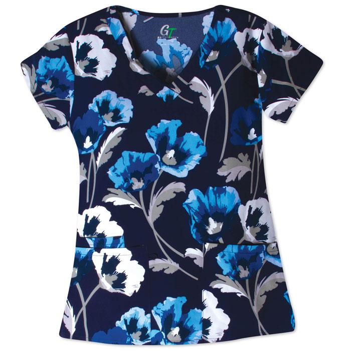 500V-1208BL-Ladies-2-Pocket-V-Neck-Top-FLOWER-FIELD-BLUE