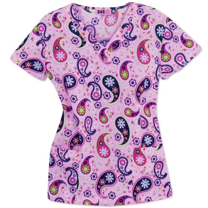 9000-1092-Ladies-V-neck-Scrub-Top-Fun-Paisley