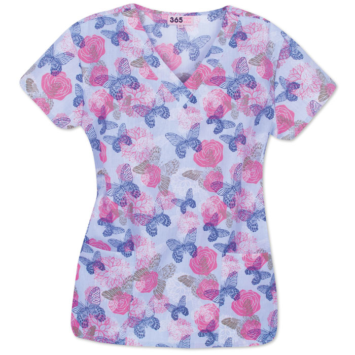 9000-1115BL-Ladies-V-neck-Scrub-Top-Butterfly-Floral