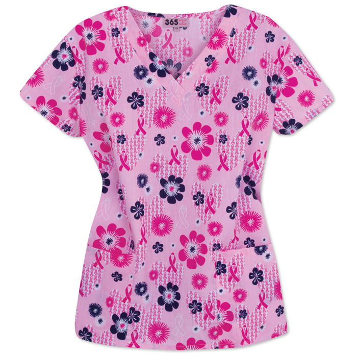 9000-1128-Ladies-V-neck-Scrub-Top-Heart-Floral-Ribbon