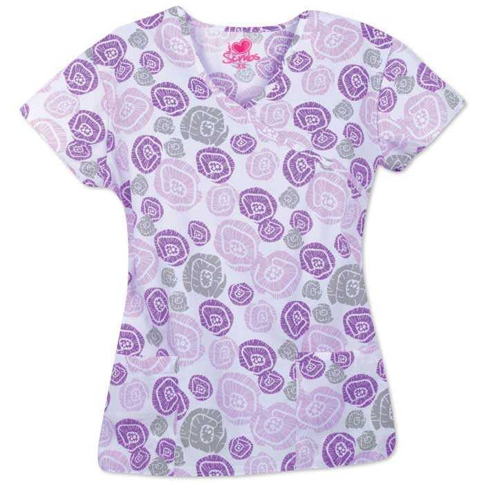 9100-1451-Ladies-Mock-Wrap-Top-Flower-Pods