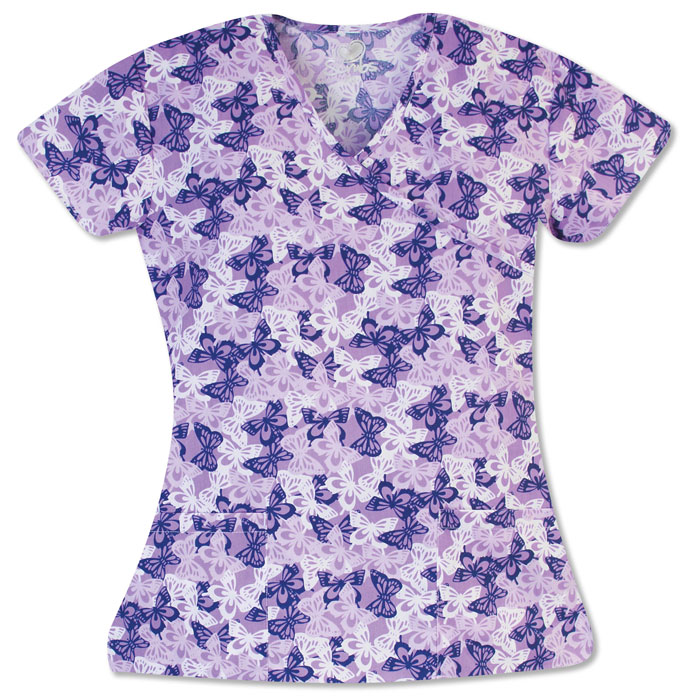 9100-1557-Ladies-Mock-Wrap-Top-2-Pocket-Butterfly-Mix