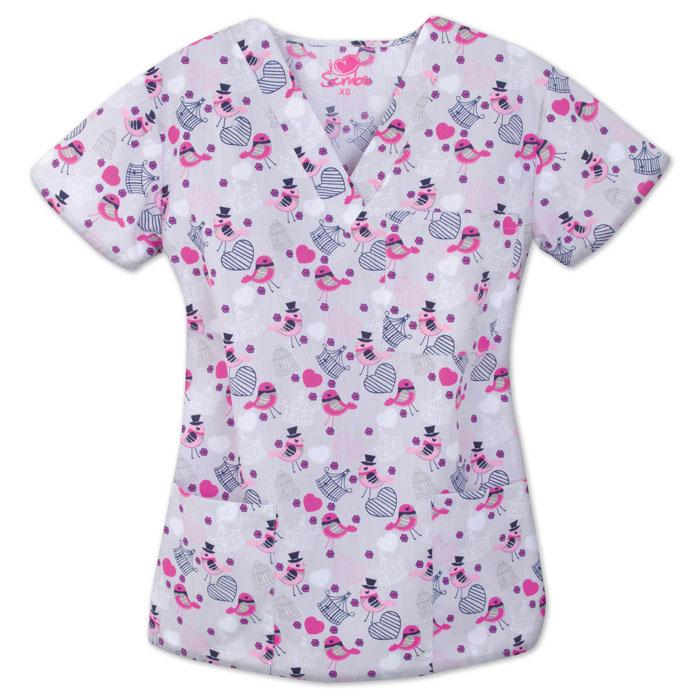 9904-1349-Ladies-3-Pocket-V-Neck-Top-Tweet-It