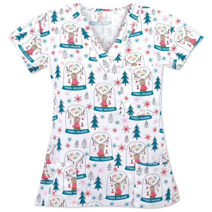 9904-1774M-Ladies-3-Pocket-V-Neck-Christmas-Top-SNOW-GLOBE