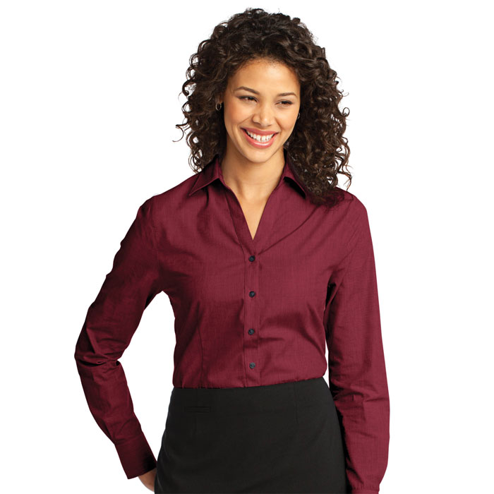 Port-Authority-L640-Ladies-Crosshatch-Easy-Care-Shirt