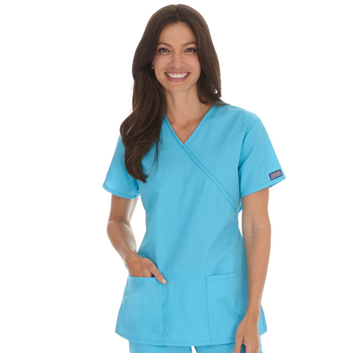 Cherokee Workwear,  4801, Mock Wrap Tunic Scrub Top