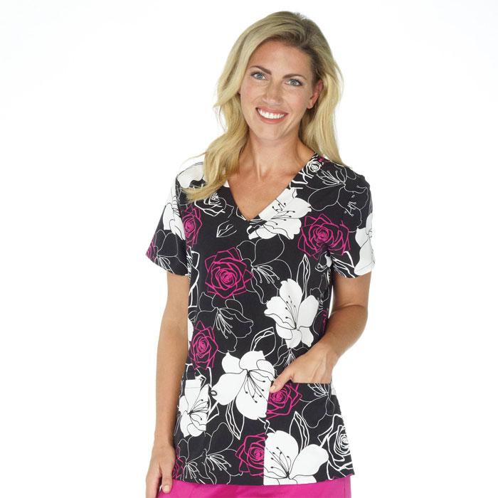 500V-1190BK-Ladies-2-Pocket-V-Neck-Top-Bold-Blooms