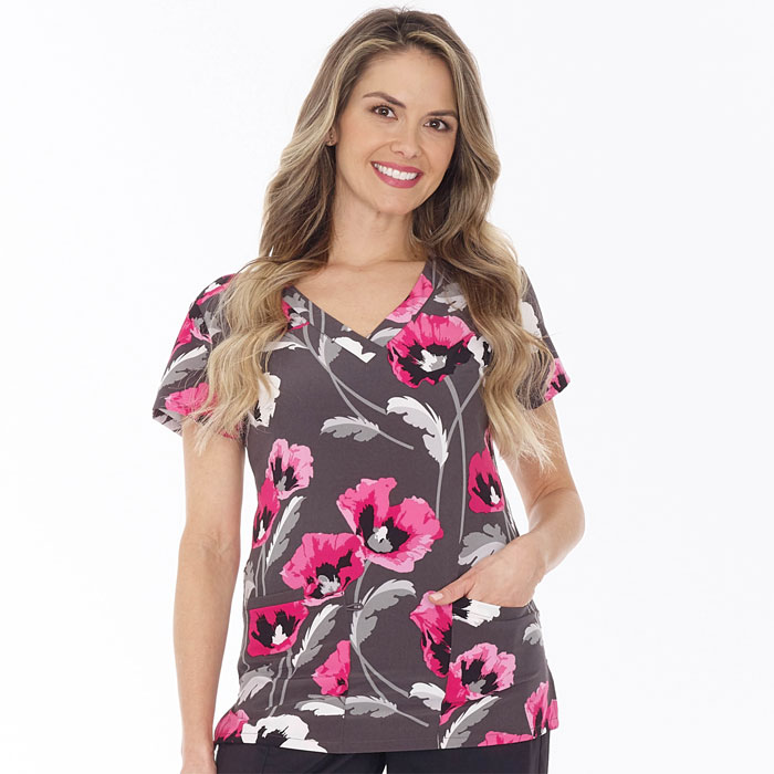 500V-1208PK-Ladies-2-Pocket-V-Neck-Top-FLOWER-FIELD-PINK