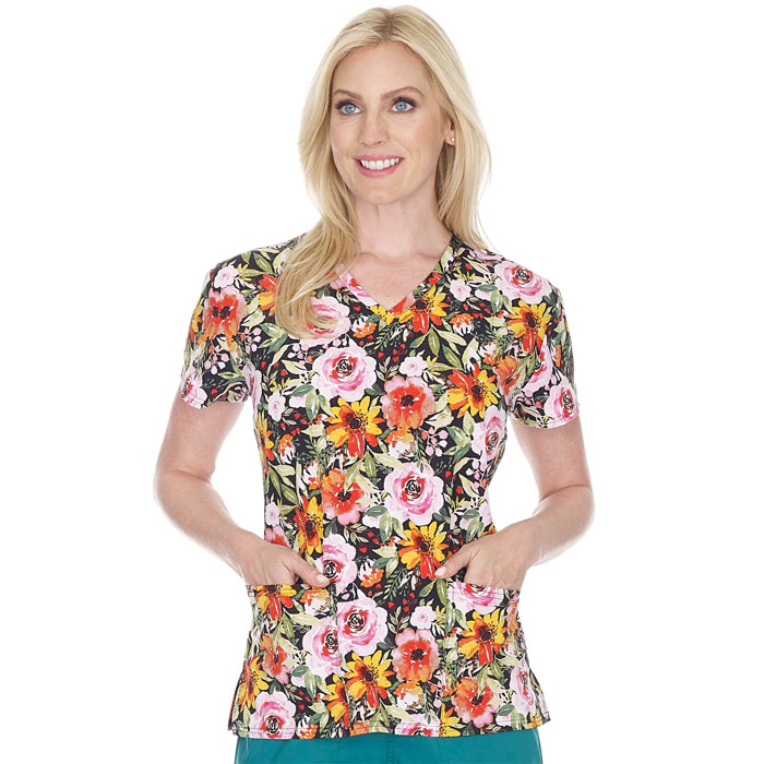 5284-1679S-Ladies-2-Pocket-V-Neck-Top-FLOWER-FALL