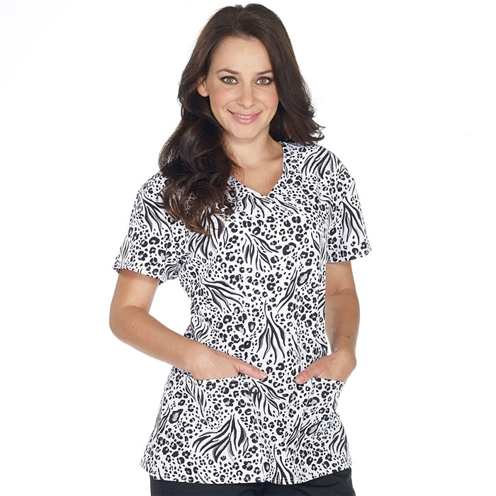 5284-1772S-Ladies-2-Pocket-V-Neck-Top-SPOT-ON