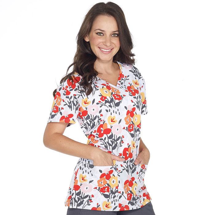 5284-1819S-Ladies-2-Pocket-V-Neck-Top-Pretty-Poppies