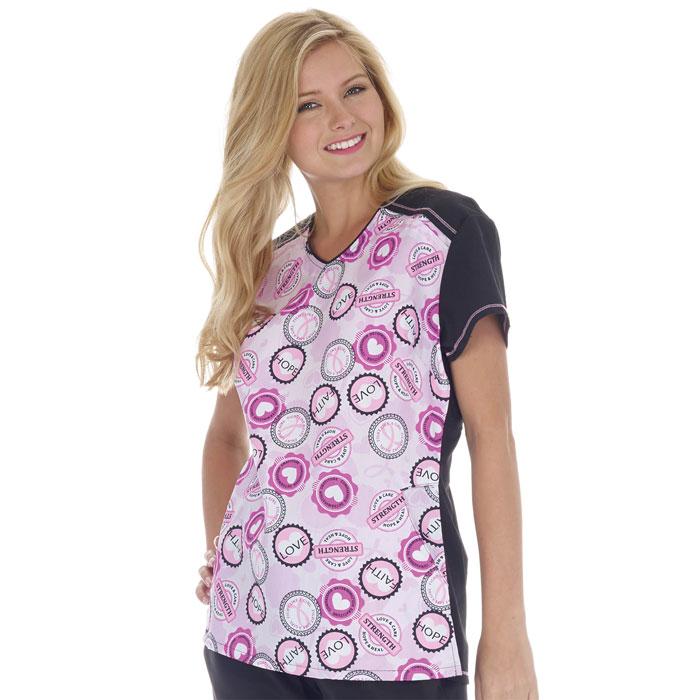 5326-1294-Eased-V-Neck-Color-Block-Scrub-Top-Pink-Badges