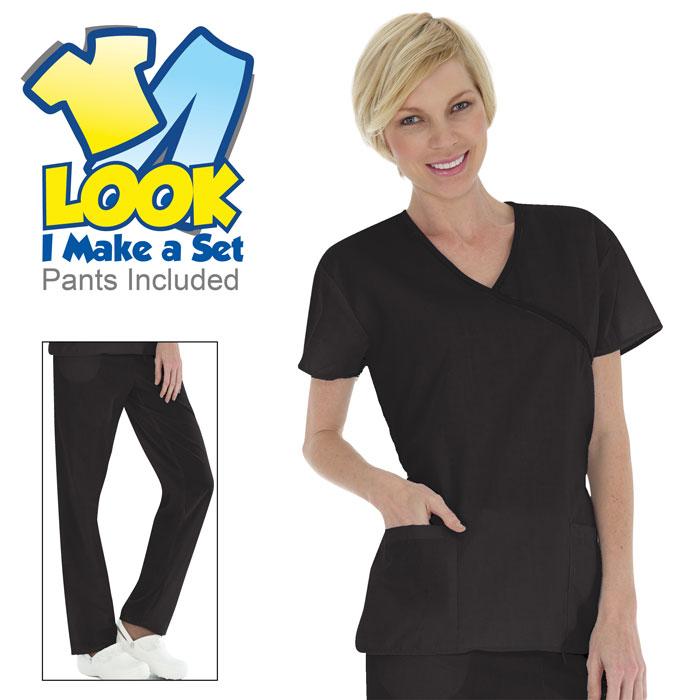 6601-Ladies-Mock-Wrap-Scrub-Set