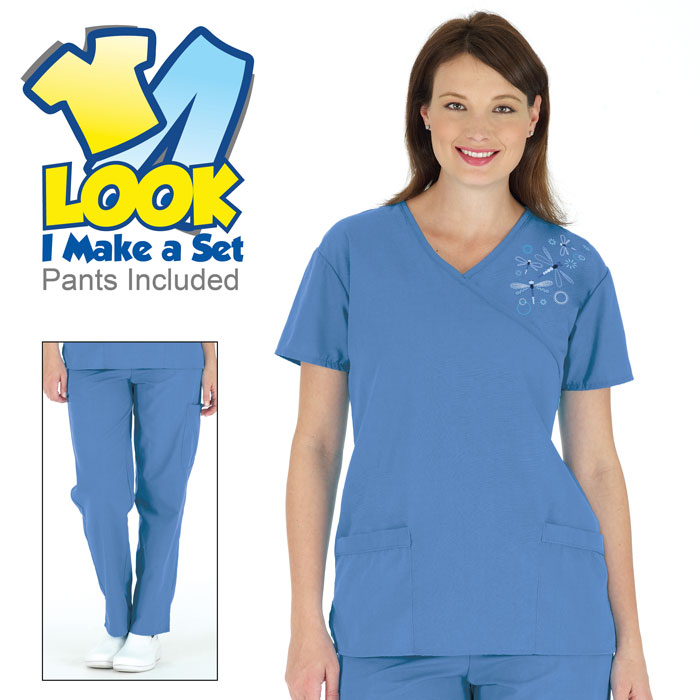 7078-46, Embroidered Dragonfly Scrub Set, Ceil Blue