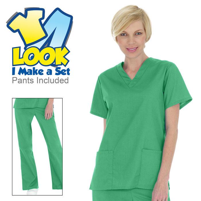 766-Ladies-V-Neck-Scrub-Set-2-Pocket-Top